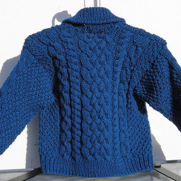 Hand Knit Turquoise Baby Fisherman Sweater Size 18 Months