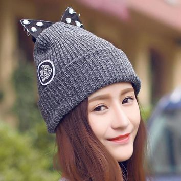 ESBU3C Women Warm Winter Beret Lace Rhinestone Cat Ear Crochet Knit Beanie Ski Cap Hat  -Y107