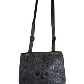 Loungefly Black Sugar Skull Embossed Crossbody Bag
