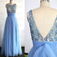 Ice Blue Formal Gown, A Line Straps Blue Luxury Prom Dresses, Tulle with Crystal Prom Gown, Luxury Long  Formal Dresses