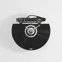 Ford Mustang wall clock from upcycled vinyl record (LP) | Hand-made gift for muscle car fan | Ford Mustang, Shelby fan home wall decoration