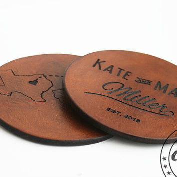 Wedding Gift for Couple,Personalized Wedding Gift,Wedding Favors,State to State,Leather Coasters Set,Leather Anniversary gift for him