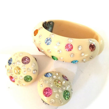 Weiss Celluloid Clamper Bracelet and Earring Demi