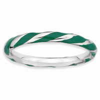 Sterling Silver Twisted Green Enameled 2.4 x 2.0mm Stackable Ring: RingSize: 7