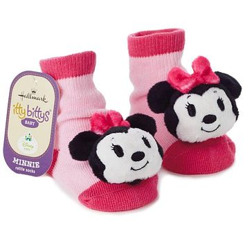 Hallmark Itty Bittys Disney Minnie Mouse Baby Rattle Socks New Tags