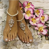 ROYAL pearl barefoot sandals - silver