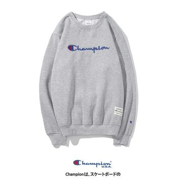 Champion winter classic embroidered letter plus velvet crew neck sweater Grey