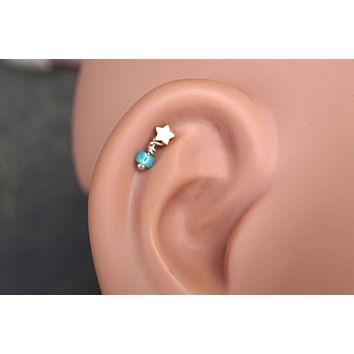 Star Gold Cartilage Earring Tragus Helix Piercing