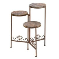 Gifts & Decor Rustic Finish Triple Planter Stand Home Plant Table Set