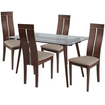 Roseville 5 Piece Walnut Wood Dining Table Set with Glass Top and Clean Line Wood Dining Chairs - Padded Seats