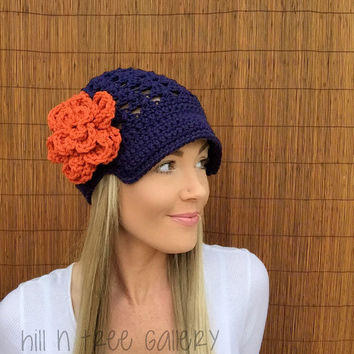 Denver Broncos Navy Blue Cap w/ Visor & Orange Detachable Flower Colorado Brim Crochet Football Accessory Hat Knit Accessories Beanie