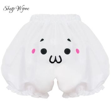 Hot Shorts Shugo Wynne 2018 New Women Cute Girl Anime Cos Lolita Style Pumpkin  Bloomers 4 Styles Kawaii Expression Face White AT_43_3