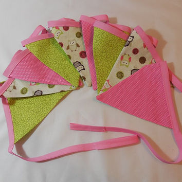 Pink and Green Owl Themed Fabric Bunting For Child's Room Decor Or Party Decor