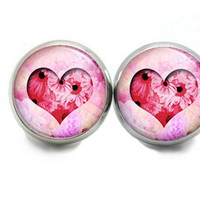 Heart Stud Earrings, Small  Pink Heart Earrings, Jewelry For Valentines Day