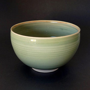 Porcelain bowl, ceramic bowl, green bowl, handmade, large bowl, serving bowl, pottery bowl