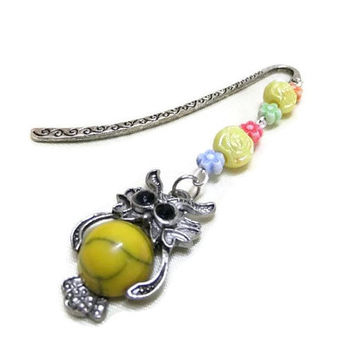 Yellow Owl Bookmark, Beaded Bookmark, Flower Bead Bookmark, Metal Bookmark, Silver Bookmark, Student Gift, Teachers Gift, Booklovers, Owls