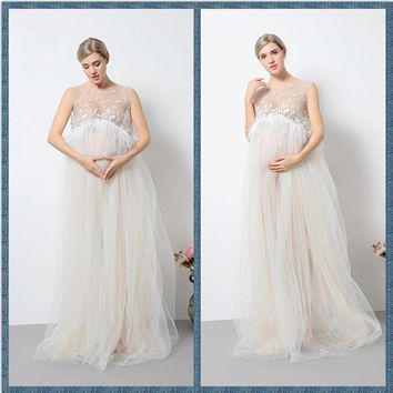 Fashion Lace Maternity Dresses Long Maternity Photography Props Sexy Pregnant Dress Pregnancy Dress for Maternity Photo Props
