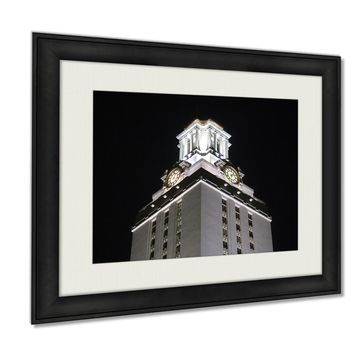 Framed Prints, Austin University Of Texas Clock Tower At Night Wall Art Decor Giclee Photo Print In Black Wood Frame, Soft White Matte, Ready to hang, 16x20 Art
