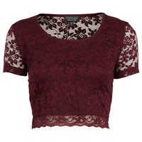 Short Sleeve Lace Crop - Topshop
