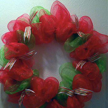 Christmas wreath. Red and green deco mesh by FunWithWreaths