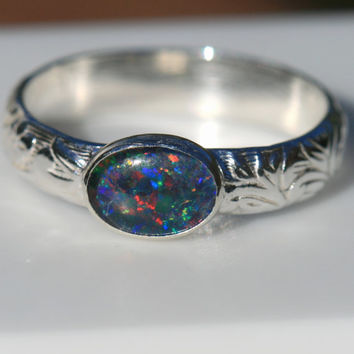 Blue Opal Ring, Flower Vine Pattern,  Size 7.5 Ring, Australian Opal Ring, Blue Opal Ring, Opal Stacking Ring, Blue by Maggie McMane Designs