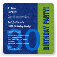 30th Birthday Modern Blue and Lime Green Invitations