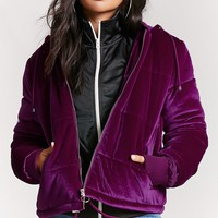 Velvet Hooded Puffer Jacket