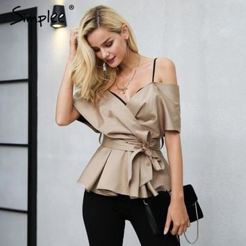 Backless v neck blouse shirt women tops Satin sash bow shirt blouse chemise Elegant zipper sexy female