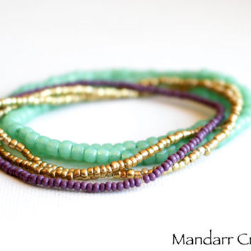 Seed Bead Stretch Bracelets, Set of Five, Gold, Purple, Glow in the Dark, Ready to Ship Gift for Her