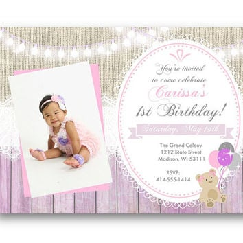 1st birthday photo invitation invite any age 1st birthday purple and pink girl rustic burlap lace lights teddy bear 5x7 printable or prined