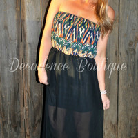 AZTEC ABSTRACT CHIFFON STRAPLESS MAXI DRESS