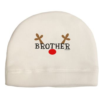 Matching Family Christmas Design - Reindeer - Brother Adult Fleece Beanie Cap Hat by TooLoud