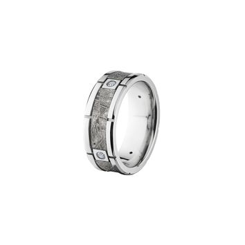 Cobalt Chrome and Diamond Band Ring with Meteorite Inlay