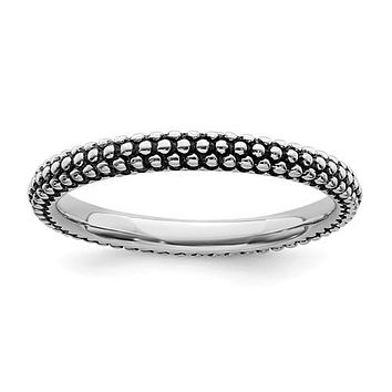 Sterling Silver Stackable Expressions Antiqued Ring