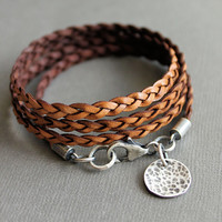 Leather Wrap Bracelet Brown Thin Flat Braid Sterling Silver Charm