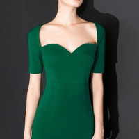 Green Short Sleeve Tea Length Dress