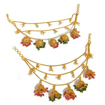 Multiple jhumka hanging triple layered ear chain / Maatal