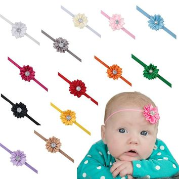 2017 colorful Hot Selling Fashion Spring/Summer Floral Elastic Shabby Flower Kids Girl Baby Headband Toddler Flower Hair Band