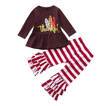 girls sets Infant Toddler Baby girls boutique Letter Thanksgiving Day Tops Striped Pants Outfits Set KK5