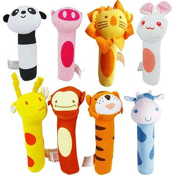 Cartoon Soft Animal Stuffed Rattle Doll Toy Mini Cute Panda Lion Rabbit Infant Baby Hand Grasping Plush Handbell Doll Toy