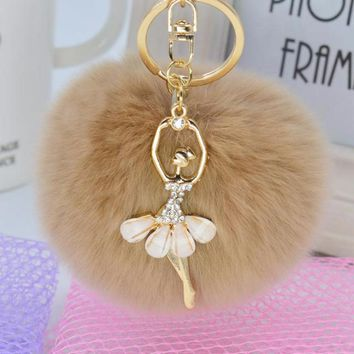 Chic Mocha Faux Rabbit Fur Pom Pom with Crystal Balerina Charm Key Fob Keychain Gold Tone