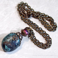 Turquoise Pearl Simple Pendant Necklace - Blue & Purple - Antique Brass Natural Stone Vintage Look Jewelry
