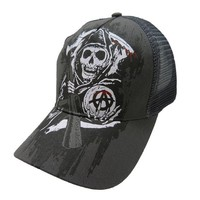 Sons of Anarchy Reaper Mesh Snapback Ball Cap - Charcoal Grey