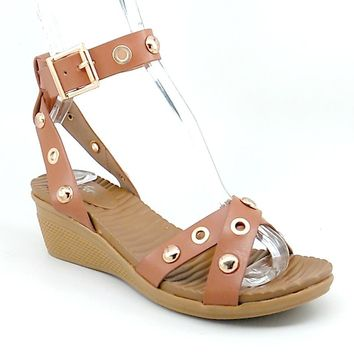 Women's Tan Rubber Wedge Sandal with Ankle Strap