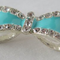 1PC - Bow Connector -  Blue Enamel on Silver Toned Metal with Rhinestones - 35x15mm
