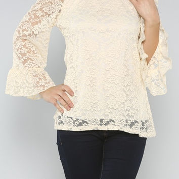 Laced Off Shoulder Top - Ivory