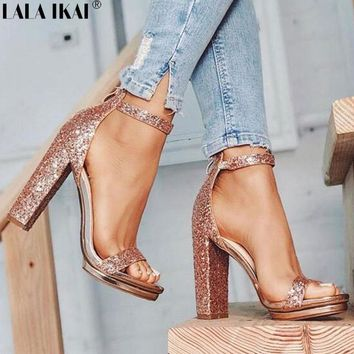 LALA IKAI Women Sandals High Heels Summer Heeled Sandals Sexy Gladiator Party Sequined Ladies Sandals Female Shoes