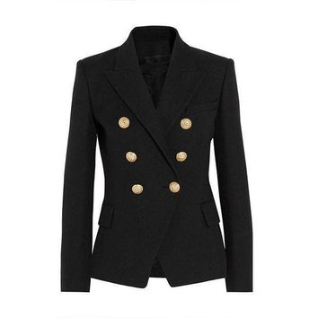 High Quality New Fashion 2016 Runway Style Women's Gold Buttons Double Breasted Blazer Outerwear Plus Size Xs Xxl