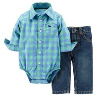 Carter's Plaid Button-Down Bodysuit & Denim Pants Set - Baby