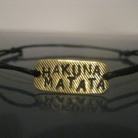 Hakuna Matata Wish bracelet, Hakuna matata bracelet, Brass Bracelet, Make a Wish Bracelet, Hand stamped jewelry, Lion King, Mens Gifts